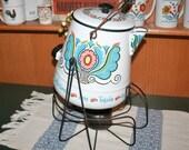 Large Rare Enamel Berggren Coffee Pot with Tilting Warming Stand Coffee Server Campfire Pot Rosemaling Floral Swedish Design