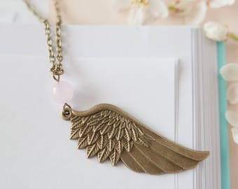 Wing Necklace, Wing Pendant, Long Wing Necklace, Bronze Wing Pendant, Angel Wing Jewellery, Rose Quartz Wing Necklace, Gemstone Wing