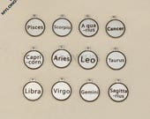 12 Zodiac sign charms-constellation pendants--double-faced engraved stainless steel charms--one set 12 pieces-G0930