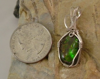 Bright Green, Yellow to Gold and Red Fire High Grade Gem Ammolite Found in Utah Deposit, Argentium Sterling Silver Wire Wrap Pendant 690