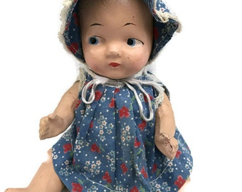Vintage Composition Baby Doll, Sitting Position, Handmade Feedsack Dress and Bonnet 10""