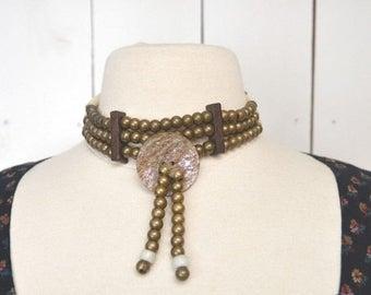 Flash Sale 25% Off Choker Necklace 1970s Wood Bone Brass Metal Beaded Vintage Abalone Shell Necklace Tribal Boho