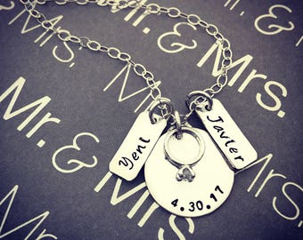 Hand Stamped Sterling Silver disc with Diamond Mini Wedding Ring Pendant for Date. Custom Engagement Anniversary Necklace. Add-on Charms