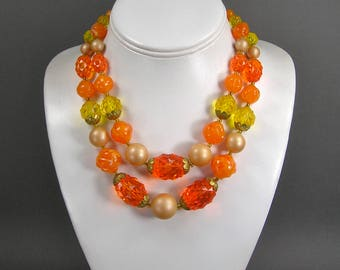 Vintage Swingin' 60's Jewelry, Hong Kong Necklace, Intense Orange, Plastic, Double Strand, Mad Men
