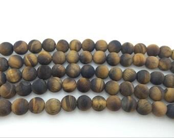 4mm / 6mm / 8 mm / 10mm / 12mm Round Matte Yellow Tiger Eye 15''L, 38 cm Loose beads Semiprecious Gemstone Bead Wholesale Beads Supply