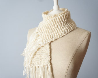 Off White Knitted Scarf - Knitted White Scarf - White Fringe Scarf - White Scarf - Off White Scarf - Spring Scarf - Thin White Fringe Scarf