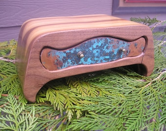 Walnut Jewelry box - Jewelry box - Made in Montana - Sustainable Wood - Copper Veneer - Hobbit
