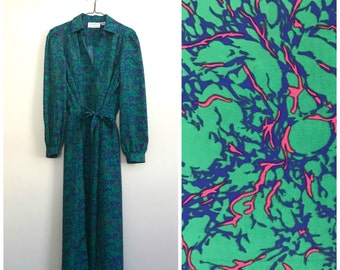 90s marbled green lightweight shirtdress XL / size 14