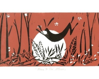 Hare & the Moon Limited Varied Edition Linocut - Red - RARE Rabbit original print limited edition of 9 only Signed