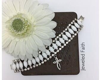 Cross Bracelet Religious Charm Bracelet Religious Bracelet Vintage Rhinestone Bracelet summer bracelet
