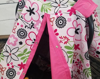 Carseat Canopy Girl Flower Patch Last One READY TO SHIP