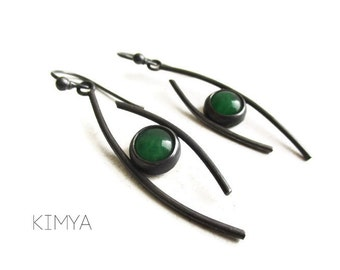 Natural Jade Oxidized Silver Earrings - Green Jade Dangle Earrings - Contemporary Earrings - Minimalist Gemstone Earrings - Art Jewelry