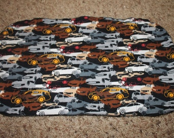 Cars Burp Cloth White Brown Gray Red Yellow Black
