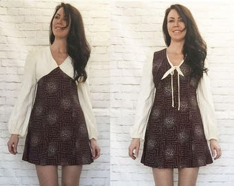 Vintage 60s Mod Pyschedelic Boho Poet Sleeve Micro Mini Dress Vest Set XS S Young Innocent Arpeja Brown Maze Print Clearance Sale