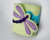 Purple Dragonfly Felt Needle Book,  Large Tri-Fold Needle Wrap Wallet,  Magnetic Closure,  Wool Felt,  Celery Green
