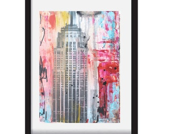 painting  new york abstract painting  colorful acrylic painting wall art by jolina anthony