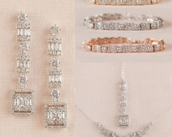 Bridal Earrings, Wedding Earrings, Rose Gold Necklace, Crystal Wedding Jewelry, Gold, Long Earrings, Monique Bridal Jewelry