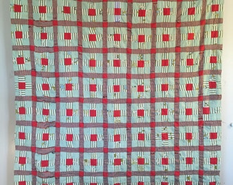 Retro STRIP BLOCK Vintage Quilt- Old School POLYESTER Knits 2-Sided!