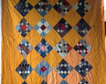 Antique VINTAGE Quilt Cheddar PATCHWORK Block Huge variety of Fabrics GORGEOUS!