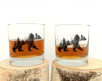 Whiskey Glasses - Double Exposure Bear - Set of Two Small Tumblers - Rock Glass Set