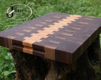 Cutting Board Walnut Cherry End Grain Butcher Block FREE Shipping JonesCuttingBoards