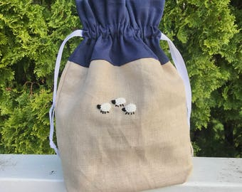 Sock Knitting Project Bag, Drawstring, Fully Lined, French Knot Sheep on Linen