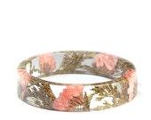Pink and Gold Flower Bracelet -Real Flower Jewelry- Flower Jewelry- Jewelry with Real Flowers- Pink Flowers -Resin Jewelry- Pink Bracelet