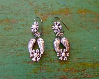 "Mexican silver earrings pearls flower leaf Oaxaca traditional dangle boho Frida Kahlo drop 2 1/4"""