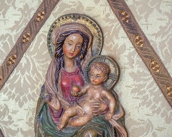 Gorgeous Anri Madonna and Christ Child, Italy, Carved Wood, Plaque Wall Decor
