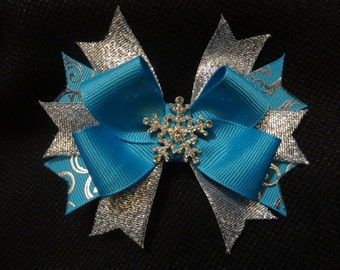 Snowflake inspired hairbow, Turquoise and Silver 4 inch boutique bow