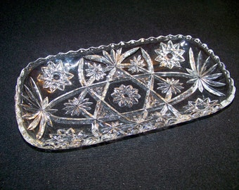 Vintage Anchor Hocking Rectangular Tray Early American Prescut Clear Glass Star of David Pattern