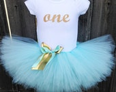 Aqua and Gold First Birthday Tutu Outfit and Headband | Glittery Gold ONE | Birthday Photos, Party Dress