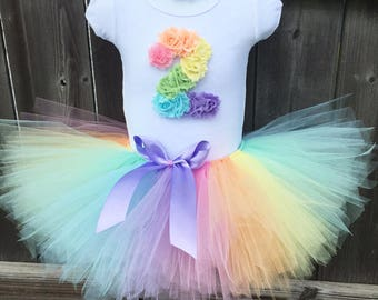 Pastel Rainbow Tutu Outfit with Matching Headband for 2nd Birthday | Second Birthday Birthday Rainbow Outfit