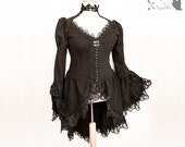 Victorian Steampunk long blouse, waistcoat, goth black, lace, Issoire, Somnia Romantica,approx size large, see item details for measurements