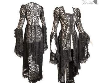 Victorian waistcoat, Steampunk cardigan, gothic, black lace, Somnia Romantica, approx small - medium, see item details for measurements