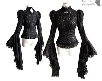 Shirt Victorian, romantic goth, steampunk, black lace, Somnia Romantica, approx size small-medium, see item details for measurements