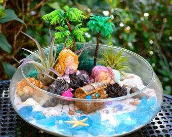 """Mermaid Beach Terrarium Kit II ~ 2 AirPlants ~ Beach Decor ~ 2 Mermaids on a Rock with Treasure Chest ~ 10"""" Terrarium Bowl ~ Mermaid Choices"""