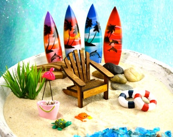Miniature Beach Accessories ~ READ CAREFULLY Set Options ~ Miniature Terrarium decorations ~ Miniature Flamingo ~ Beach Miniatures ~ Beach