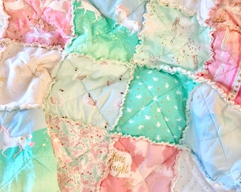 Crib Rag Quilt Baby Girl Crib Bedding Magical Nursery Pink Mint Gold Nursery