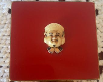 Signed Compact Extremely Rare RED ENAMEL Asian theme with Chinaman and bamboo stylized opener Brass bakelite or old Plastic Figural