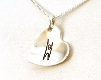Humanist Heart Necklace / Humanist Jewelry / Sterling Silver Jewelry / Humanist Necklace / Agnostic Necklace / Freethinker Necklace