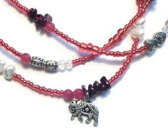 Waist Beads, Garnet Belly Chain, Garnet Ganesha Sacred Waist Beads,  Elephant Waist Beads, Red Belly Beads