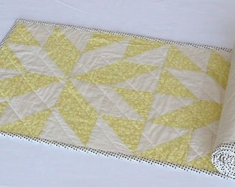 Lemon Yellow Quilted Table Topper, Patchwork Table Runner