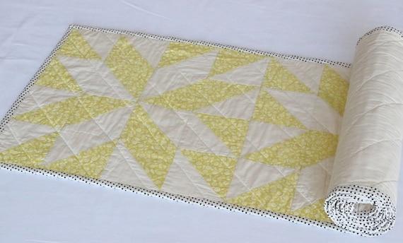 Handmade Lemon Yellow Quilted Table Runner