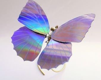Watch Parts and DVD Wing Butterfly Sculpture No 3 Upcycled Beautiful Elegant Art Iridescent Rainbow Steampunk Insect A Mechanical Mind