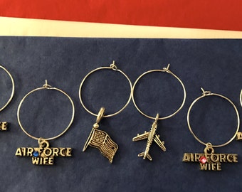 Airforce wife wine glass charms for the wine lover in your life.... customize