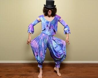 vintage Renaissance costume harem pant jester fool gypsy velvet belly dance iridescent purple blue two piece outfit S/M