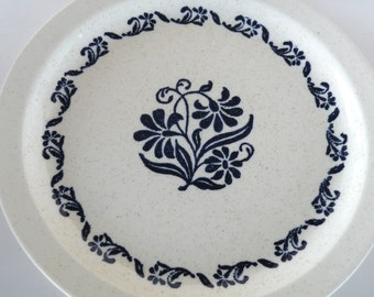 Blue Folkart Plate- White Ironstone Pottery- Design Style- Norwegian Design- Christmas Gift Plate