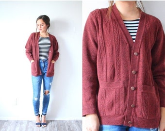 20% OFF HALLOWEEN SALE Vintage maroon red sweater // cardigan women's small // button down sweater // long sleeve boho shawl // boho cable k