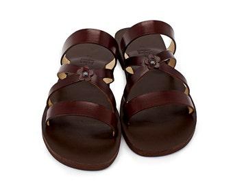 Classic Sandals, Flower Strap Handmade Sandals, Leather Slides, Boho Sandals, Vintage Style Comfortable Slides - SPRING